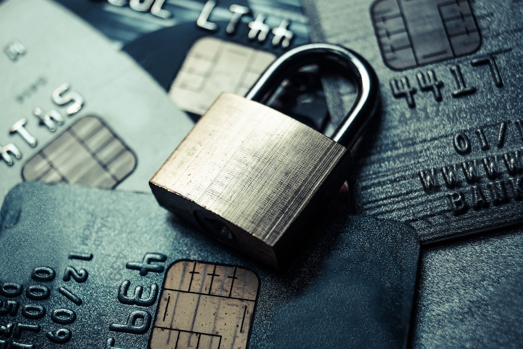 Padlock and credit cards